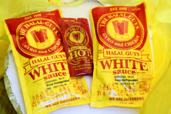 White sauce and hot sauce, The Halal Guys, West 53rd St, Manhattan