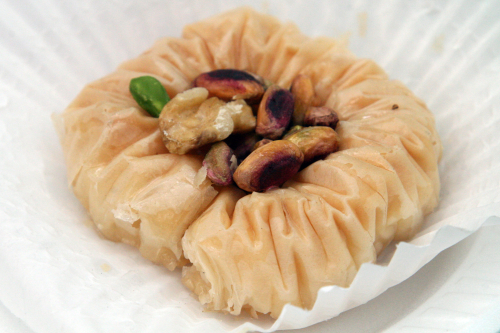 Bird's nest pastry at the Lebanese Food Festival  outside Our Lady of Lebanon Cathedral  Brooklyn Heights