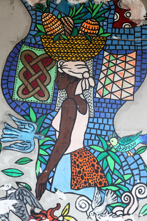 Hand-drawn mural (detail of woman with pineapples)  Dunrite Glass & Windows  Lexington Ave  Manhattan