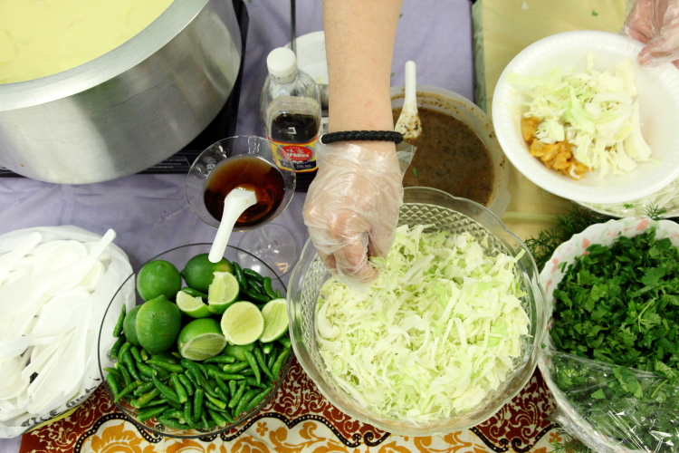 Fixings for samosas at a Burmese home-cooked food bazaar  Woodside  Queens