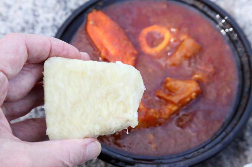 Boiled yam and cow foot sauce  Balimaya  Mott Haven  Bronx