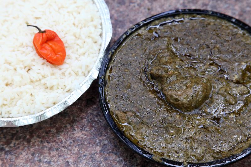 Cassava leaf sauce with beef  Cross Culture Kitchen  East 116th St  Manhattan