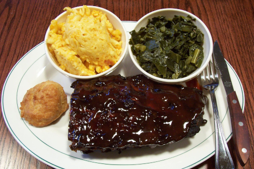 BBQ back-back-rib platter at Rack & Soul  West 109th Street  New York