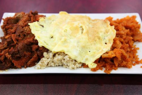 Jumbo breakfast combo (beef stew fir fir  kinche  kita fir fir  and scrambled egg)  Habesha Market & Restaurant  Washington  DC