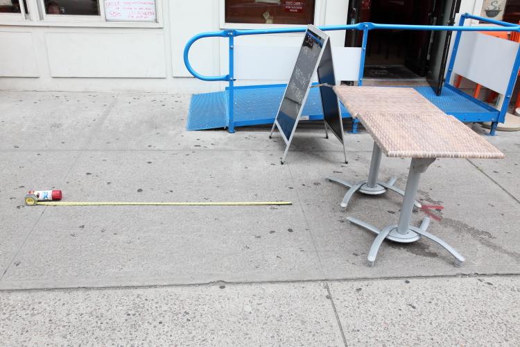 Preparing for socially distanced outdoor dining  Tom's Restaurant  Broadway  Manhattan