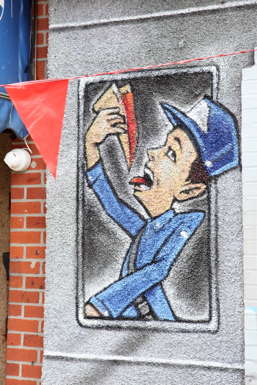 Hand-drawn artwork (Tats Cru  2020)  Last Stop on the 6 Pizzeria  Pelham Bay  Bronx