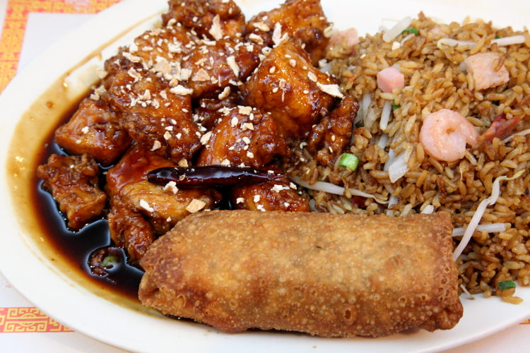 Orange chicken combo with egg roll and fried rice  La Caridad 78  Broadway  Manhattan