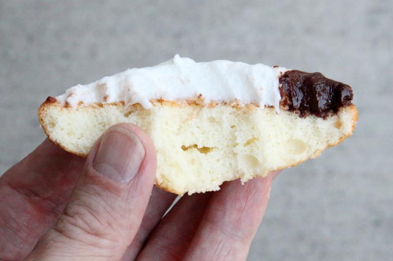 Black-and-white cookie (biteaway view)  Leske's Bakery  Bay Ridge  Brooklyn