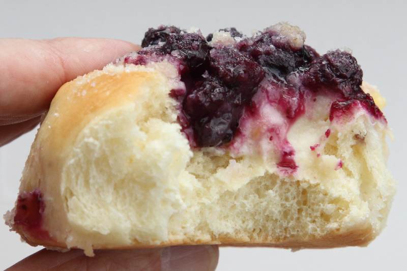 Blueberry and cream cheese kolache (biteaway view)  Kings Kolache Bakery  Bushwick  Brooklyn