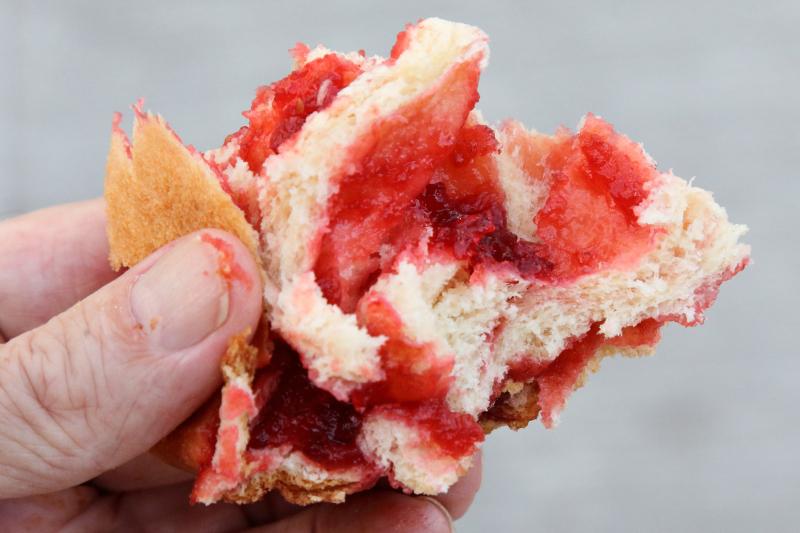 Raspberry brioche (tearaway view)  Sook Pastry  Ridgewood  New Jersey