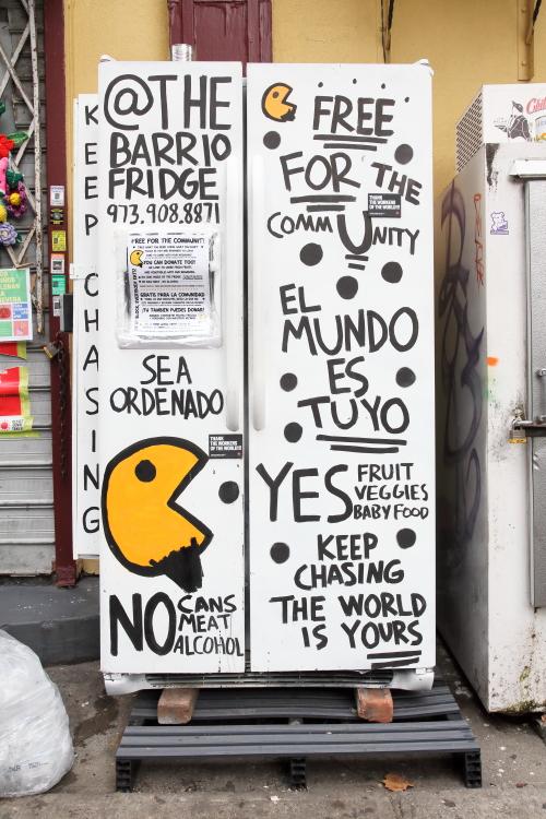 Hand-drawn artwork  The Barrio Fridge  East 108th St  Manhattan