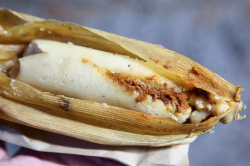 Cumin chicken tamal  Elva Meneses food stand  Prospect Park South  Brooklyn