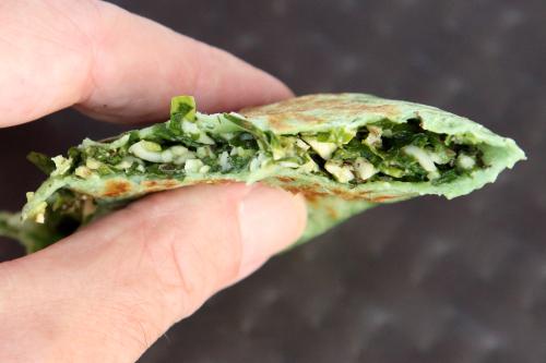 Kutab with spinach (biteaway view)  Oasis Mega Market  Sheepshead Bay  Brooklyn