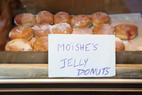 Moïshe's jelly donuts  handwritten sign  Le Fournil  Second Ave  Manhattan