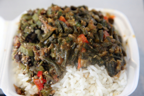 Okra and bora at Joy & Snook Restaurant and Bakery  Crown Heights  Brooklyn