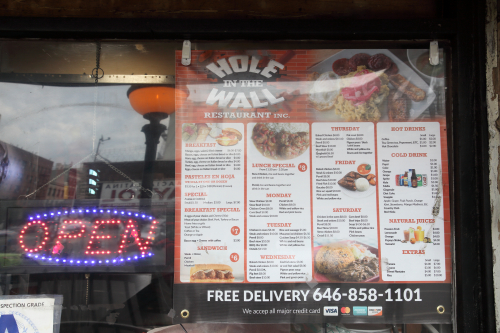 Hole in the Wall Restaurant menu  Lexington Ave  Manhattan