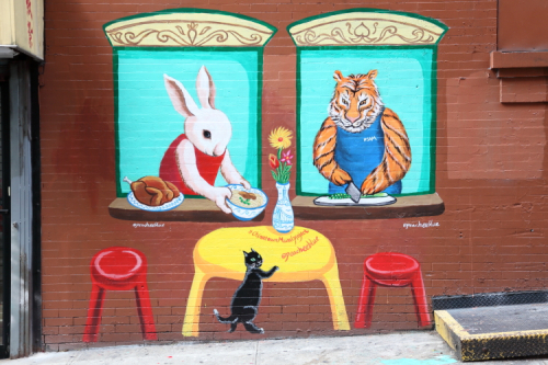 Window service  hand-painted mural (Peach Tao for the Chinatown Mural Project  2020)  around the corner from Sam's Deli  Mulberry St  Manhattan