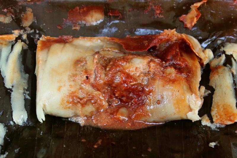 Tamal Veracruzano de pollo (unwrapped)  Tamales Jarochos  Elmhurst  Queens
