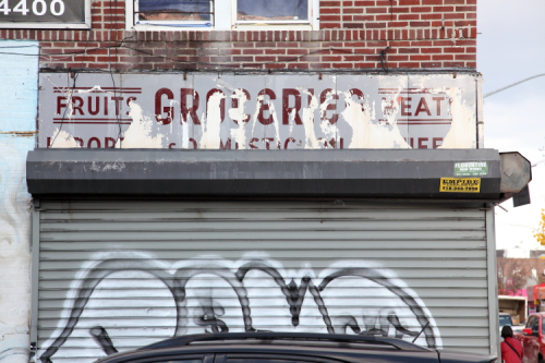 Fruits  groceries  meats  imported & domestic  surviving signage  the former I&C Food Market  Bensonhurst  Brooklyn