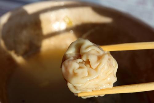 Noodle soup with wontons  dumplings  and fish balls (detail of wonton)  Maxi's Noodle  Flushing  Queens