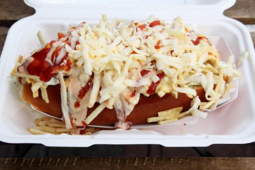 Venezuelan hot dog  Empanadas Mix  Jackson Heights  Queens