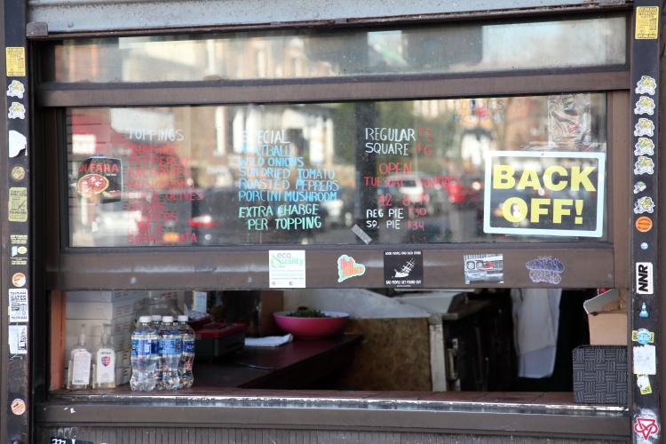 Back off  social-distancing signage  Di Fara Pizza  Midwood  Brooklyn