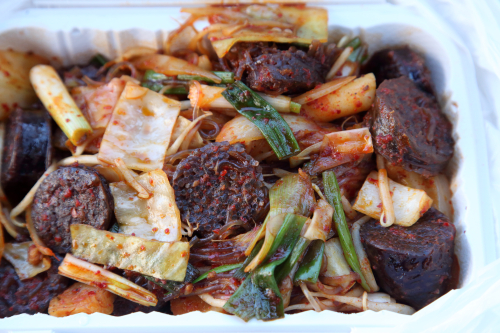 Stir-fried soondae  Ma Youngae cart  Murray Hill  Queens