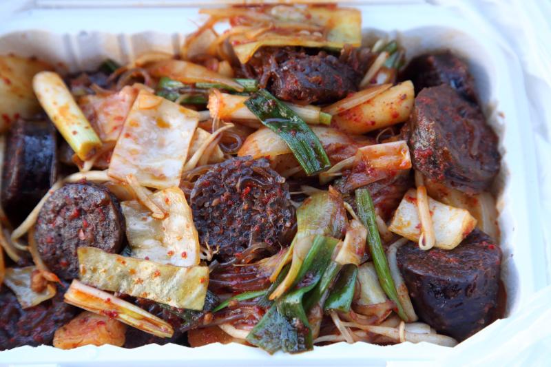 Stir-fried soondae  Ma Youngae cart  Murray Hill  Queens