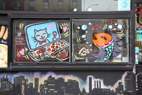 Valentine's-themed hand-drawn artwork (Paint the Town  2021)  East Village Pizza  East 9th St  Manhattan