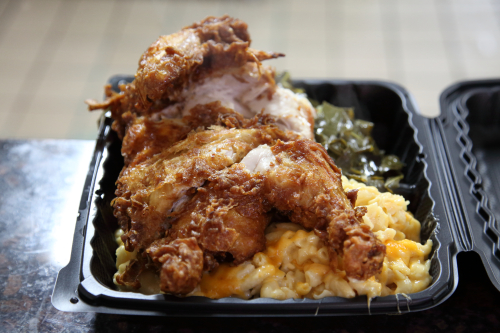 Chicken dinner (before application of mustard sauce) with mac 'n' cheese and collard greens  Johnson's BBQ  Woodstock  Bronx