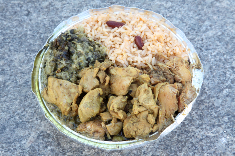 Bunjal-style curry chicken  callaloo  and rice and beans  Sisters Cuisine  East 124th St  Manhattan