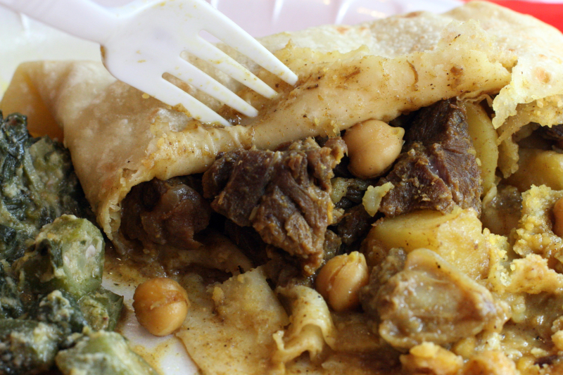 Inside a goat roti at Sisters Restaurant  East 124th Street  New York