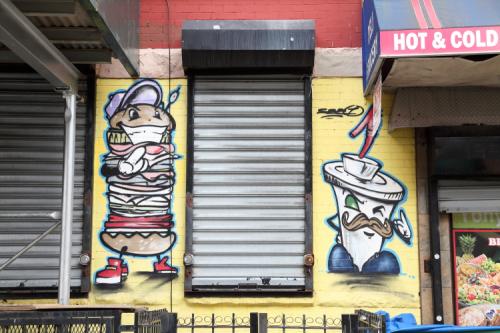 Anthropomorphic sandwich and drink  hand-drawn artwork  Yony P Deli Grocery  Bedford-Stuyvesant  Brooklyn