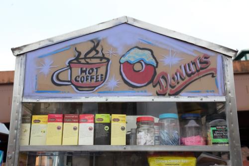 Hot coffee  donuts  hand-drawn food-cart artwork  East 124th St  Manhattan