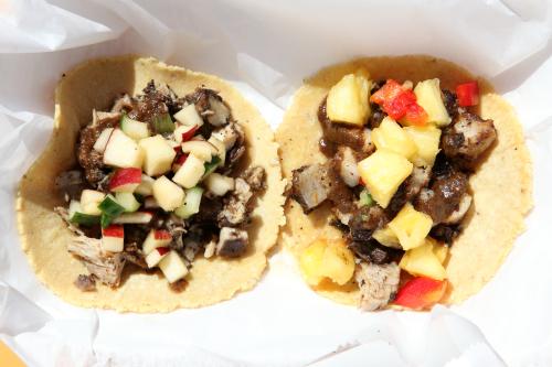 Jerk chicken and jerk pork tacos  Wah Gwaan  Bronx Night Market  Fordham  Bronx