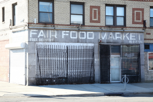 Fair Food Market  surviving signage with old HIckory 6 telephone exchange  East Elmhurst  Queens