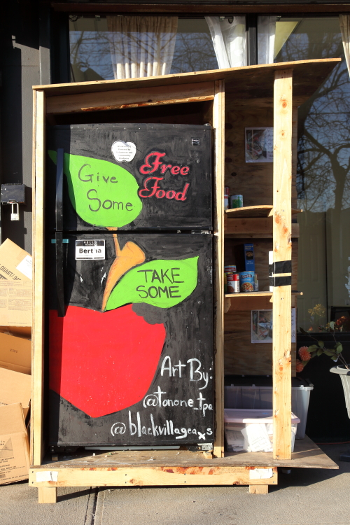 Give some  take some  hand-drawn artwork (Brandi Jones  Black Village Arts  2020)  Queens Village Community Fridge  Hollis  Queens