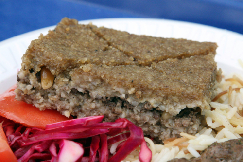 Kibbe square at the Lebanese Food Festival  outside Our Lady of Lebanon Cathedral  Brooklyn Heights