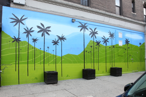 Wax palm trees  hand-drawn artwork (Ignacio Campo Salinas  2019)  Salento Colombian Coffee & Kitchen  Amsterdam Ave  Manhattan