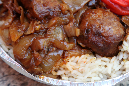 Fish meatballs with fish-and-onion sauce over rice (lafidi)  Halal Fresh Food  Concourse  Bronx