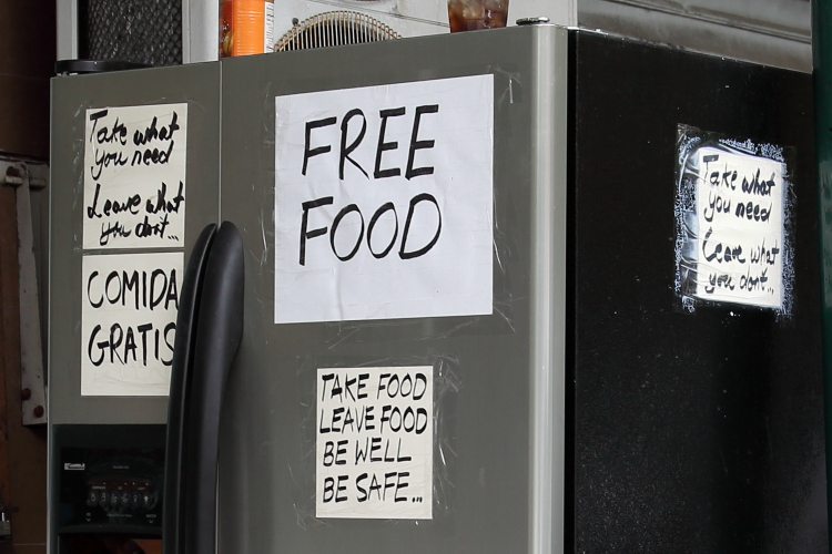Refrigerator with free food (detail of signs)  Ralph & Nash Deli  West 116th St  Manhattan