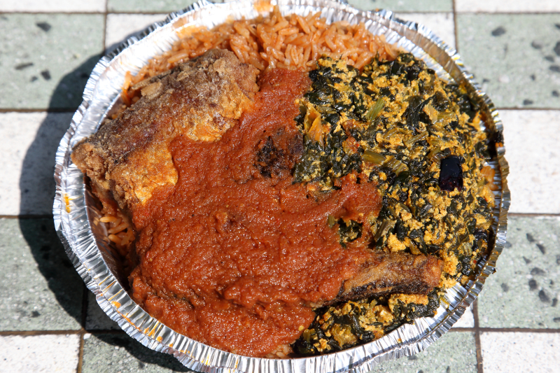 Djollof rice  Egusi with spinach  and whiting  Accra  Adam Clayton Powell Jr Blvd  Manhattan
