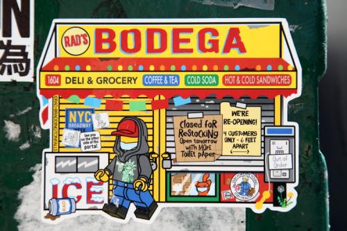 Bodega (Corona edition; Rad  2020)  sticker on traffic-control box  Broadway  Manhattan