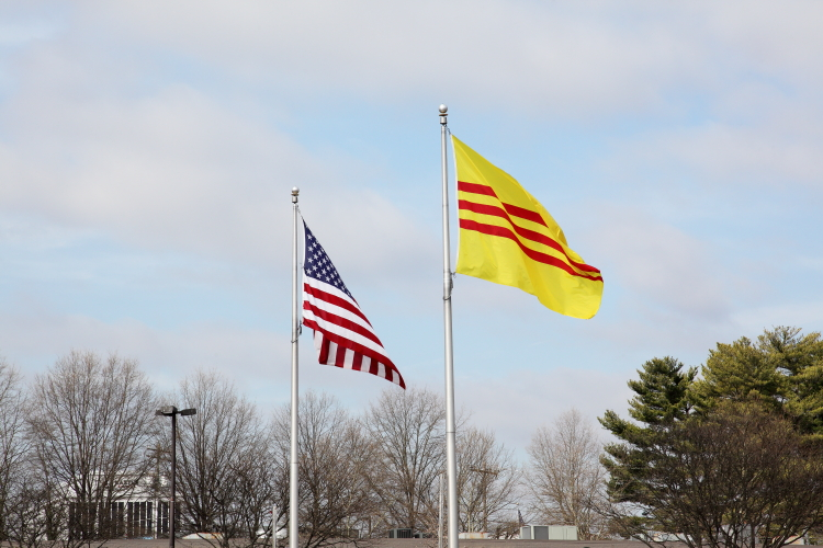 Flags of the United States and South Vietnam  Eden Center  Falls Church  Virginia