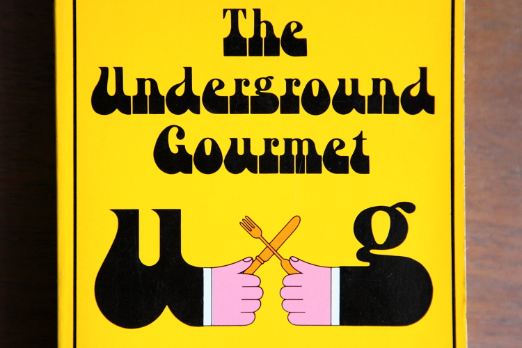 The Underground Gourmet  detail of Milton Glaser book cover with diner's sleeve U and G  Morningside Heights  Manhattan