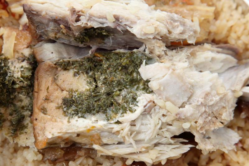 Thiebou djeun (white; detail of rof)  Dabakh-Kine  Bedford-Stuyvesant  Brooklyn