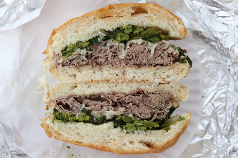 The Ray Donovan  roast beef  melted provolone  and broccoli rabe sautéed in garlic and olive oil  John's Deli  Gravesend  Brooklyn