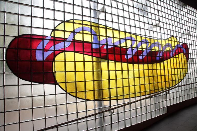 My Coney Island Baby (detail of hot dog; Robert Wilson  2004)  Coney Island-Stillwell Ave station  Coney Island  Brooklyn