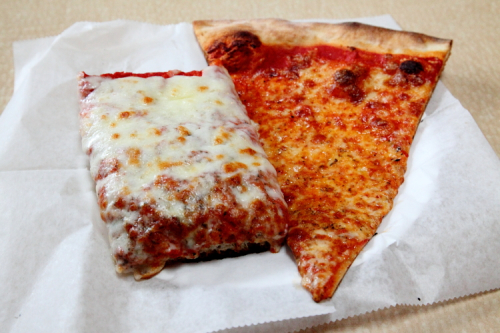 Sicilian and regular slices at Louie & Ernie's Pizza  Pelham Bay  Bronx