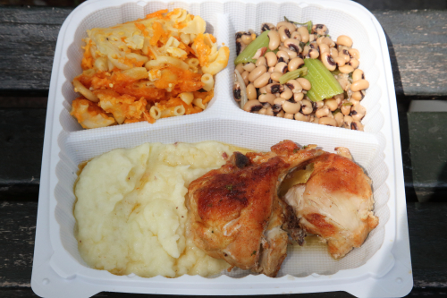 Baked chicken  mashed potatoes  mac and cheese  and black-eyed peas  Jacob Restaurant  Lenox Ave  Manhattan
